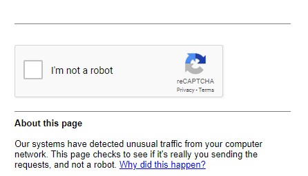 Our systems have detected unusual traffic from your computer